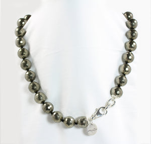 Pyrite 14mm Bead Necklace - Signature Collection