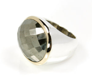 KenSu Jewelry Pyrite Oval Ring with 14ct.Gold - Signature Collection Hand Made Jewelry