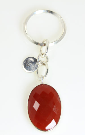 Red Agate Oval Silver Keychain - One of A Kind Collection