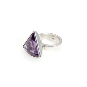 Ring - Bowl Amethyst Triangle Cut Stone Sterling Silver