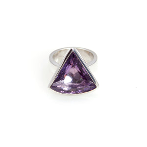 Amethyst Triangle Bowl Ring Sterling Silver