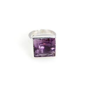 Ring - Bowl Amethyst Square Cut Stone Sterling Silver