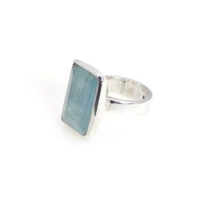 Aquamarine Rectangle Bowl Ring Sterling Silver
