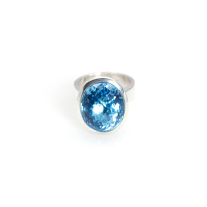 KenSu Jewelry Blue Topaz Bowl Ring Sterling Silver