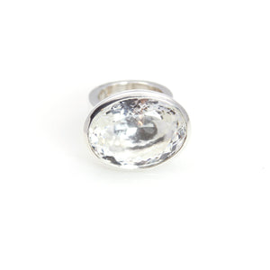 Ring - Bowl Crystal Quartz Brillant Oval Cut Sterling Silver