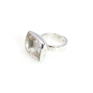 Ring - Bowl Crystal Quartz Rectangular Cushion Cut Sterling Silver