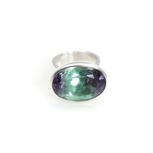 Ring - Bowl Fluorite Oval Brillant Cut Sterling Silver