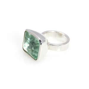Ring - Bowl Fluorite Rectangle Step Cut Sterling Silver