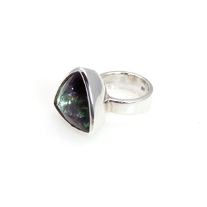 Ring - Bowl Fluorite Triangle Brillant Cut Sterling Silver