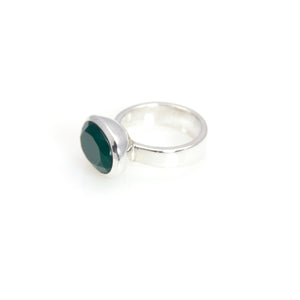 Ring - Bowl Green Agate Oval Brillant Cut Sterling Silver