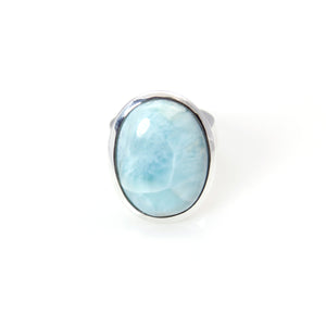 Ring - Bowl Larimar Oval Cabochon Cut Sterling Silver