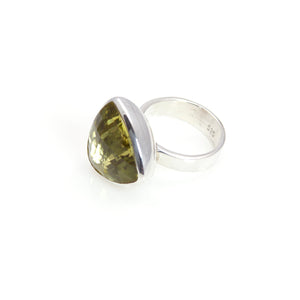 Ring - Bowl Lemon Quartz Triangle Cut Sterling Silver