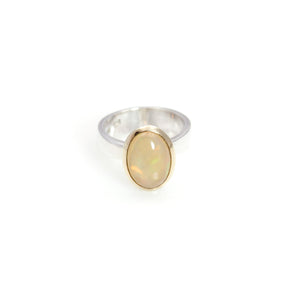 Ring - Bowl Ethiopian Opal Cabochon Cut 14ct Gold & Sterling Silver