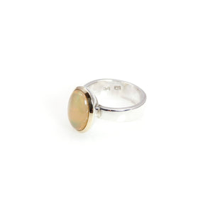 Ethiopian Opal Bowl Ring 14 carat Gold Sterling Silver
