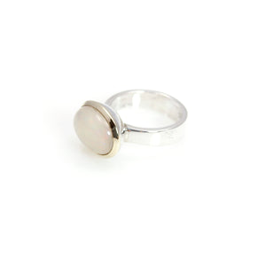 Ethiopian Opal Bowl Ring 14 carat Gold and Sterling Silver