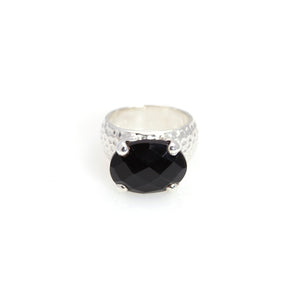 Black Onyx Prong Ring Sterling Silver