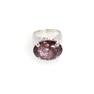 Amethyst Oval Prong Ring Sterling Silver