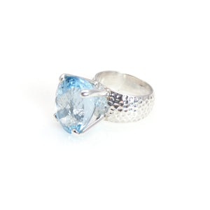 Blue Topaz Prong Ring Sterling Silver