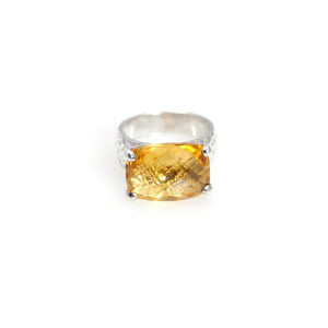 Citrine Prong Ring Sterling Silver