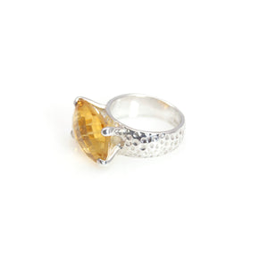 Citrine Rectangle Prong Ring Sterling Silver