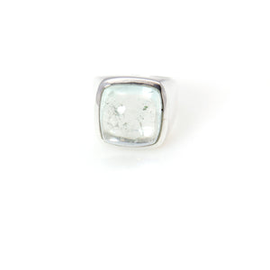 Aquamarine Signature Ring Sterling Silver