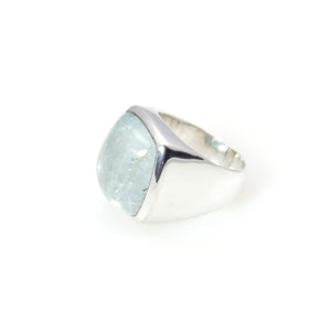Aquamarine cabochon Signature Ring Sterling Silver