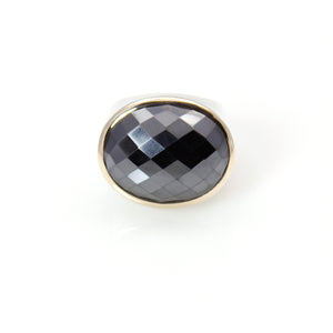 Hematite Oval Ring with 14ct.Gold - Signature Collection