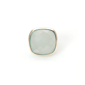 Chalcedony Signature Ring 14ct Gold Sterling Silver