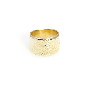 Ring - Band Hammered Gold Plated Sterling Silver