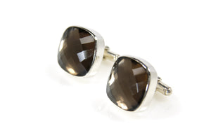 Mens Collection - Cuff Links Smokey Quartz Sterling Silver