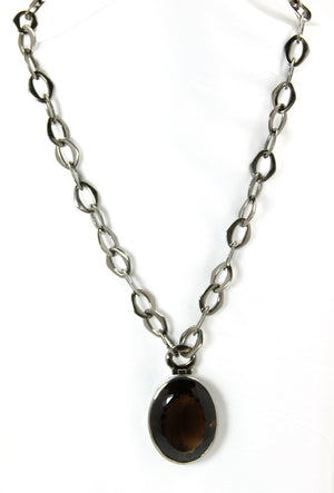 Smokey Quartz Oval Pendant Ruthenium Plated Necklace - Bold Collection