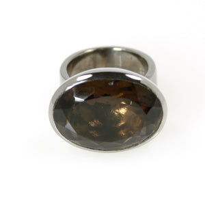 Smokey Quartz Ruthenium Plated Oval Bowl Ring - Bold Collection