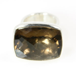 Smokey Quartz Rectangle Bowl Ring - Bold Collection