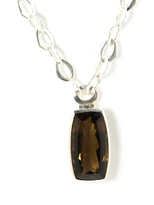 Smokey Quartz Rectangle Pendant & Sterling Silver Chain Necklace - Bold Collection