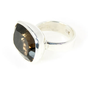 Smokey Quartz Square Bowl Ring - Bold Collection