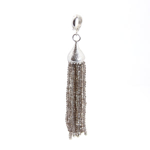 Smokey Topaz Clip On Tassel Pendant Sterling Silver