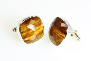 KenSu Jewelry Tiger Eye Silver Cuff Links Hand Made Jewelry