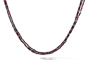 Sapphire and Pink Tourmoline 3 Line Necklace
