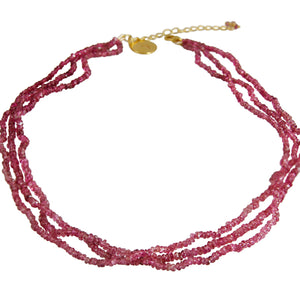 Necklace - Beaded Pink Tourmaline 3 Lines 16""