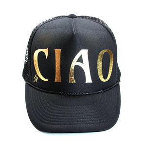 "Trucker Hat  Black with Gold Foil ""CIAO"""