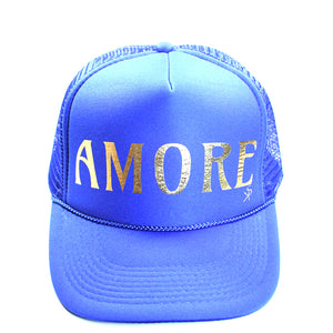 "Trucker Hat Blue ""AMORE"" in Gold foil"