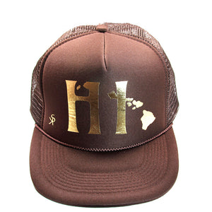 "Trucker Hat Brown ""HI"" and Hawaiian islands Gold Foil"