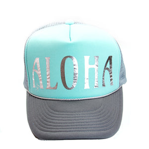 "Trucker Hat Turquoise and Grey  ""ALOHA"" in Silver Foil"