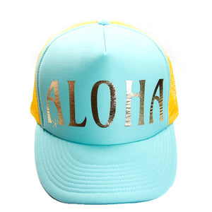 "Trucker Hat Turquoise and Golden Yellow  ""ALOHA"" in Gold Foil"