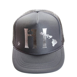 "Trucker Hat Grey  ""HI"" and Hawaiian islands in Silver Foil"