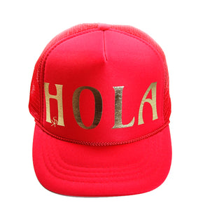 "Trucker Hat Red ""HOLA"" in Gold Foil"