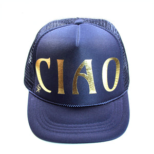 "Trucker Hat Dark Royal Blue ""CIAO"" in Gold Foil"
