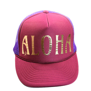"Trucker Hat Maroon and Purple ""ALOHA"" in Gold Foil"