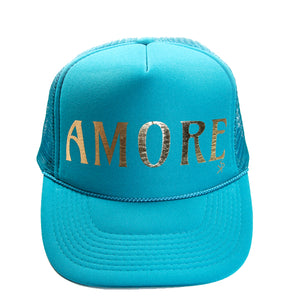 "Trucker Hat Green  ""AMORE"" in Gold Foil"