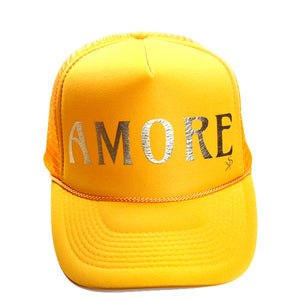"Trucker Hat Golden Yellow  ""AMORE"" in Gold Foil."